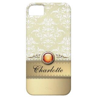 Romantic Golden Damask Pattern personalizable iPhone 5 Case
