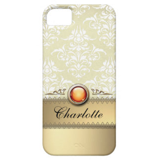 Romantic Golden Damask Pattern personalizable iPhone 5 Covers