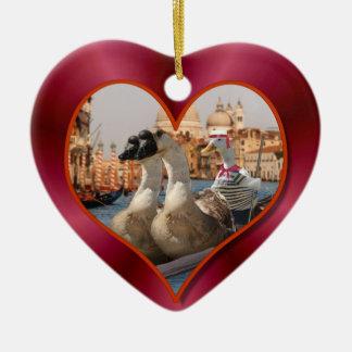 Romantic Gondola Ride w/ Red Satin Background Christmas Ornament