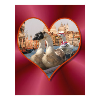 Romantic Gondola Ride w/ Red Satin Background Full Color Flyer