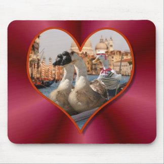 Romantic Gondola Ride w Red Satin Background Mouse Pad