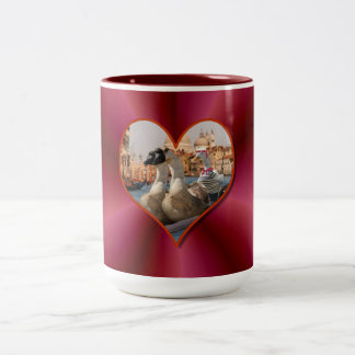 Romantic Gondola Ride w/ Red Satin Background Mugs