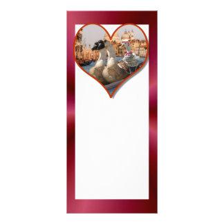Romantic Gondola Ride w/ Red Satin Background Rack Card