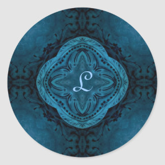 Romantic gothic baroque in dark blue monogram L Classic Round Sticker
