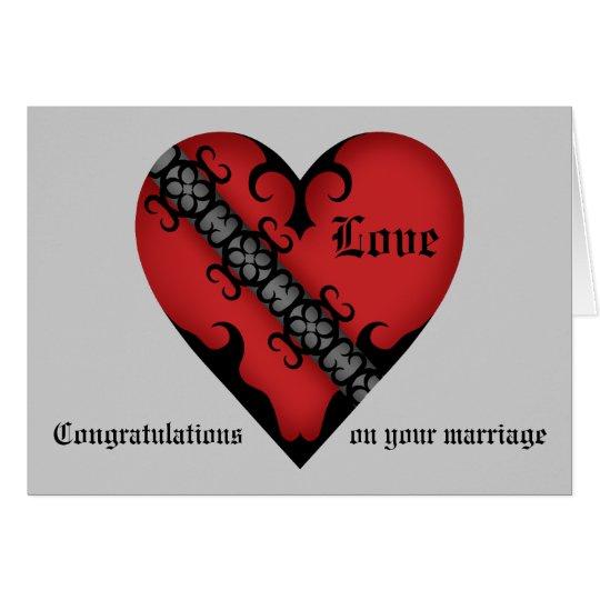 Romantic gothic mediaeval heart wedding congrats card