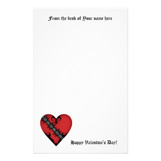Romantic gothic mediaeval red heart on white stationery paper