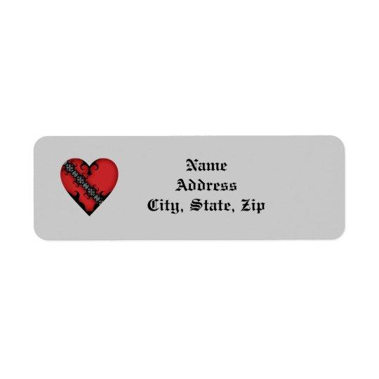 Romantic gothic mediaeval red heart return address label