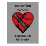 Romantic gothic mediaeval red heart save the date post cards