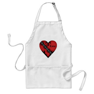 Romantic gothic medieval red heart standard apron