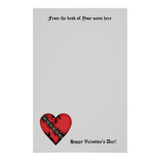 Romantic gothic medieval red heart on gray stationery