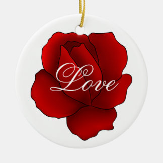 Romantic gothic red rose Love Christmas Ornament