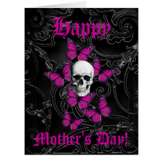 Romantic gothic skull mothers day cards