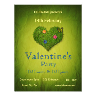 Romantic Grass Heart Valentine's Day Party Flyer