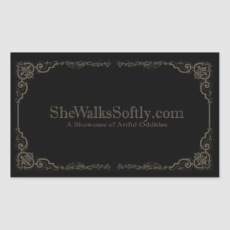 Romantic Gray Rectangular Sticker