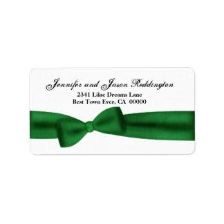 Romantic Green Bow Address Label