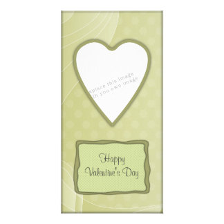 Romantic green heart design personalised photo card