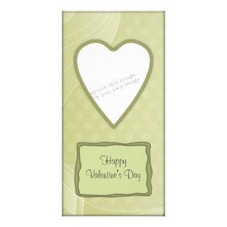 Romantic green heart design personalised photo card