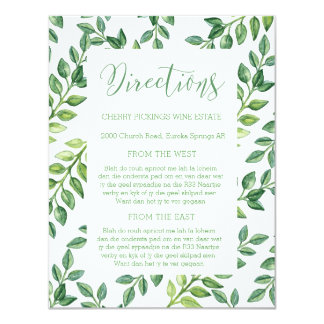 Romantic Green Leaves - Directions Wedding Card