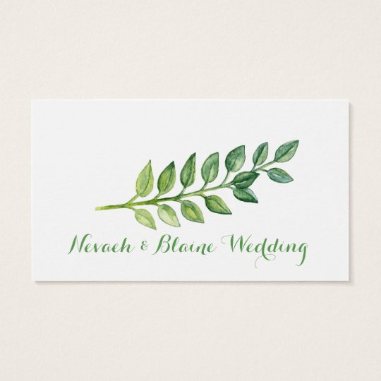 Romantic Green Leaves - Name Card