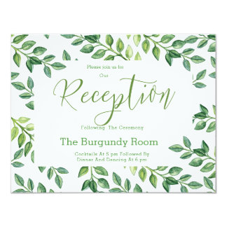 Romantic Green Leaves - Reception card