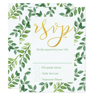 Romantic Green Leaves - RSVP Wedding Card