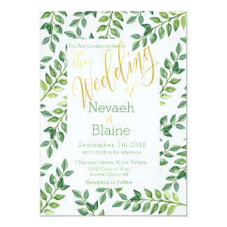 Romantic Green Leaves -  Wedding Invitation