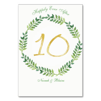Romantic Green Leaves -  Wedding table card10 ring Card