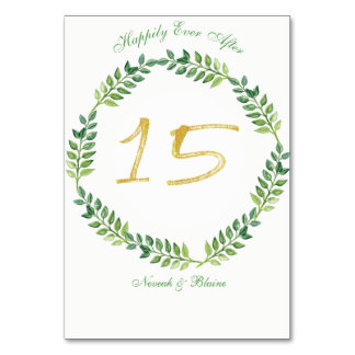 Romantic Green Leaves -  Wedding table card15ring Card