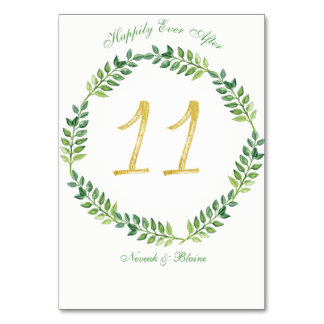 Romantic Green Leaves -  Wedding table card 11ring
