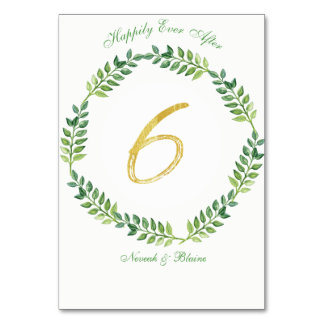 Romantic Green Leaves -  Wedding table card 6 ring