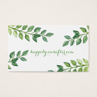 Romantic Green Leaves - Wedding website card