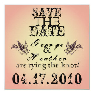 Romantic Grunge  Save the Date... 13 Cm X 13 Cm Square Invitation Card