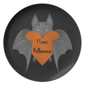 Romantic Halloween bat Plate