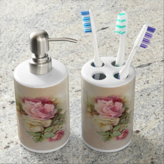 Romantic Handpainted Style Vintage Roses Soap Dispenser And Toothbrush Holder