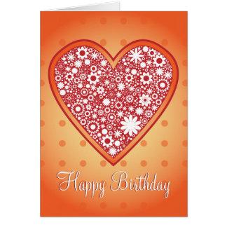 "Romantic Heart Design ""Happy Birthday"" Greeting Card"