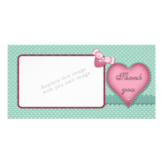 Romantic heart design Thank you Photo Card Template