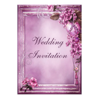 Romantic Heart Flowers Frame Wedding Personalized Invite