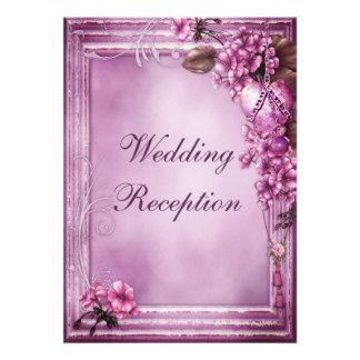 Romantic Heart Flowers Frame Wedding Reception Custom Invitations