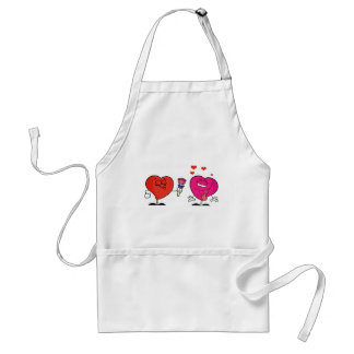 Romantic Heart Giving Flowers to The Lady Heart Standard Apron