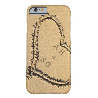 Romantic Heart in Sand Initials Personalized Barely There iPhone 6 Case