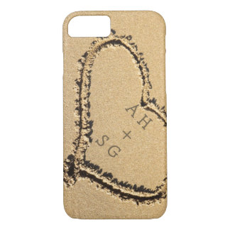 Romantic Heart in Sand Initials Personalized iPhone 7 Case