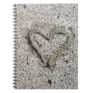 Romantic Heart in Sand Notebook