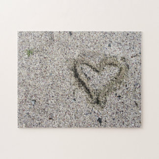 Romantic Heart in Sand Photo Challenge Puzzles