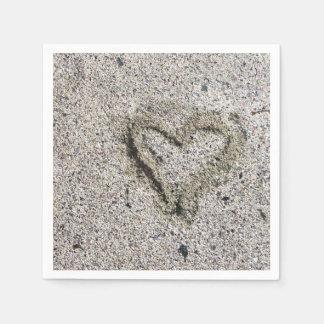 Romantic Heart in Sand Photo Disposable Serviette