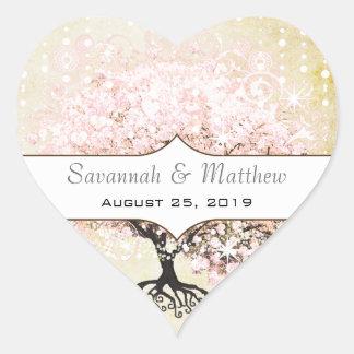 Romantic Heart Leaf Pink Tree Wedding Seal Heart Sticker