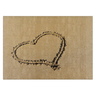 Romantic Heart on Beach Sand Photo Cutting Board