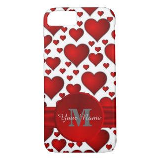 Romantic heart pattern monogrammed iPhone 8/7 case