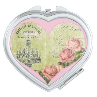 Romantic Heart Roses French Pink Decorative Travel Mirror