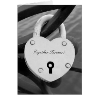 Romantic heart shape love lock photo greeting card