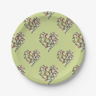 Romantic Hearts Vintage Floral 7 Inch Paper Plate